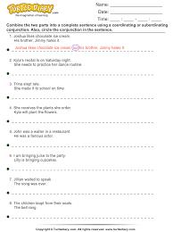 coordinating and subordinating conjunctions worksheet worksheets