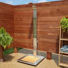 alvin outdoor stainless steel shower panel with bamboo tray outdoor