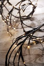 branch garland lights brown with 96 warm white 6 in