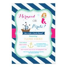 pirate or mermaid gender reveal baby shower invite zazzle