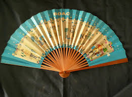 paper fans boac advertising paper fan antique goodies ruby