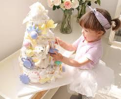 Teddy Bear Centerpieces by Gender Natural Diaper Cake 4 Tier Baby Shower Centerpiece