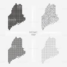 Maine Maps Maine Maps Mosaic Squarred And Dotted Stock Vector Art 514631902