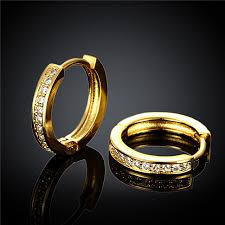 18k gold earrings sale gold color small hoop earrings with zircon elegance style