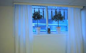 Kitchen Window Dressing Ideas Diy Unfinished Basement Decor White Basement Window Curtains With