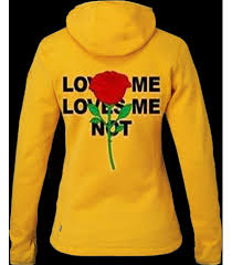 yellow hoodie that says