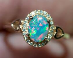 opal rings images Solid gem semi black opal 14k solid rose gold engagement ring size jpg