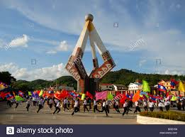 Southeast Asia Flags Festival People Carrying Colourful Flags Monument Xam Neua