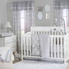 Grey Nursery Bedding Set Grey Damask And Dot Print 3 Baby Crib Bedding Set By The