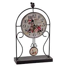 black wrought iron table clock creations meng antique black wrought iron table clock amazon co