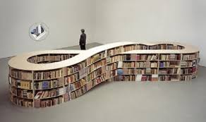 decorative dark painted wooden floating bookcase with circle shape