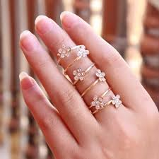 fashion long rings images Exaggerated 18 k gold plated hollow out movable flower long punk jpg