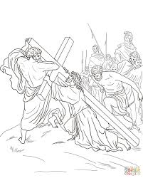 fifth station jesus is helped to carry his cross coloring page