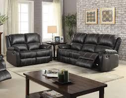 Leather Reclining Sofa Sets Acme 52285 Zuriel 2pcs Black Pu Leather Reclining Sofa Set