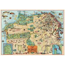 Tourist Map Of San Francisco by San Francisco Tourist Attractions Map Poster Vintage Style Paper