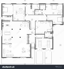 black white floor plans modern apartment stock vector 605091233