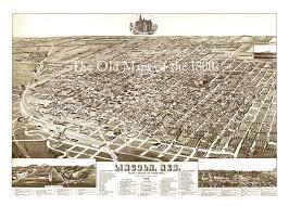 Birds Eye View Maps Lincoln Nebraska In 1889 Bird U0027s Eye View Map Aerial Panorama