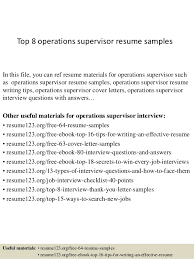 supervisor resume exles top 8 operations supervisor resume sles 1 638 jpg cb 1427856585