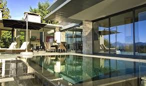Modern Exterior Sliding Doors Patio Sliding Glass Doors With Contemporary Swimming Pool Design