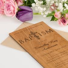 baptism engraving dl size engraved wooden christening invitations unique acrylic