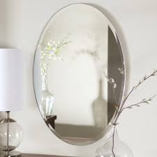 Bathroom Mirrors Brushed Nickel Oval Bathroom Mirrors For Traditional Design Bedroom Ideas