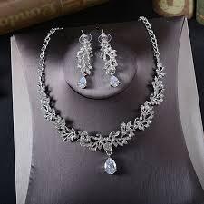 bridal ornaments necklace earrings two sets korean brides