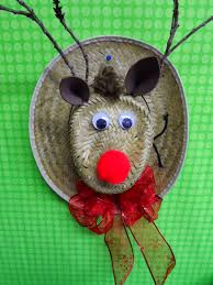 cute rudolph the red nosed reindeer made from straw hats