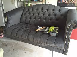 How To Upholster A Sofa by While They Snooze How To Reupholster A Tufted Couch