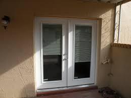 Patio Door Venetian Blinds White Wooden Patio French Door With One Way Mirror Panel Exterior