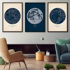 Hemispheres Home Decor by Astronomy Print Set Of 3 Star Map Print Star Chart Print
