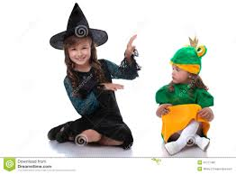 Frog Halloween Costumes Cute Sisters Posing Costumes Witch Frog Stock Photo