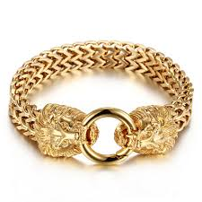 stainless gold bracelet images Stainless steel lion heads franco cuban chain silver gold men 39 s jpg