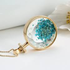 blue glass pendant necklace images Liebe engel drop shipping vintage collares blue dried flower glass jpg