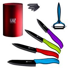 compare prices on kitchen set knives online shopping buy low xyj brand beauty gift kitchen knife 6 piece set ceramic knife block peeler 3