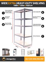 5 tier extra heavy duty wide boltless shelving unit