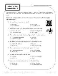 worksheet where is the preposition