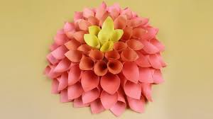 Flower Home Decor by Amazing Dahlia Flower For Room Decor Easy Diy Paper Wall Hanging