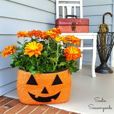 Halloween Porch Light Cover by Repurposed Straw Tote Bag Halloween Jack O Lantern Pumpkin Planter