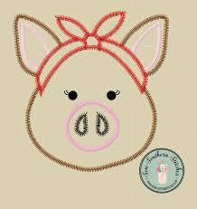 applique zig zag zig zag piggy with bandana applique design stitch miss