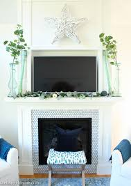 How To Decorate Home With Simple Things by Beautifully Simple Blue U0026 Green Fall Mantel Decor The Happy Housie