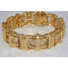 bracelet gold mens images Diamond bracelet 9ct diamonds princess cuts and rounds xl big 14k gold jpg