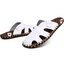 urban fashoin stylish genuine leather beach u0026 leisure slide