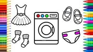 Washing Machine Coloring Page - baby washing machine toy and clothes coloring pages for kids