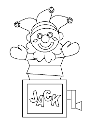 printable jack in the box clown sketch coloring page