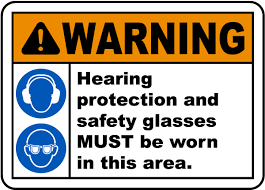 ansi z535 table 130 7 f hearing protection safety glasses sign i2447 by safetysign com