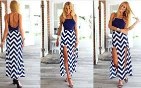 summer dress wave striped summer dress back cut out maxi