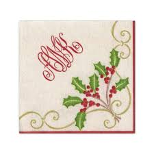 monogram christmas caspari monogram christmas embroidery paper linen cocktail napkins