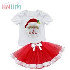 cute girls kids baby christmas tree santa clothes top t