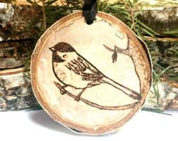 wood burned wolf ornament salvaged birch ornament rustic