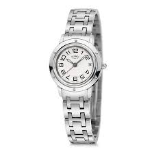 hermes clipper silver dial stainless steel ladies watch 035318ww00